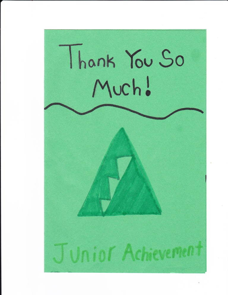 Jr Achievement thank you card