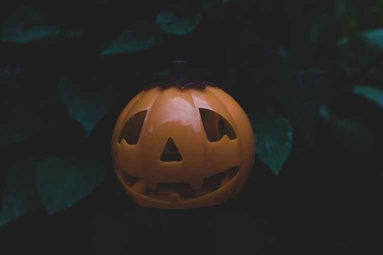 close up photo of plastic jack o lantern